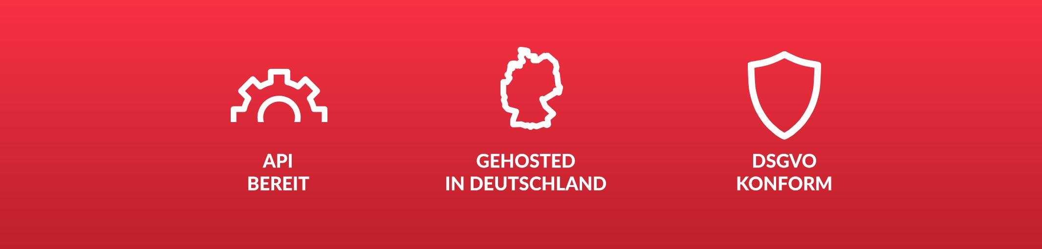 API bereit, Gehosted in Deutschland, DSGVO konform